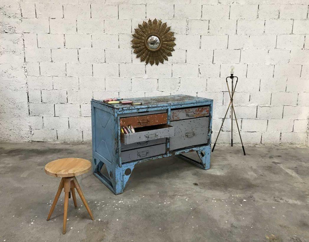Tabli d 39 atelier industriel des ann es 60 70 ancien - Patine meuble metal ...