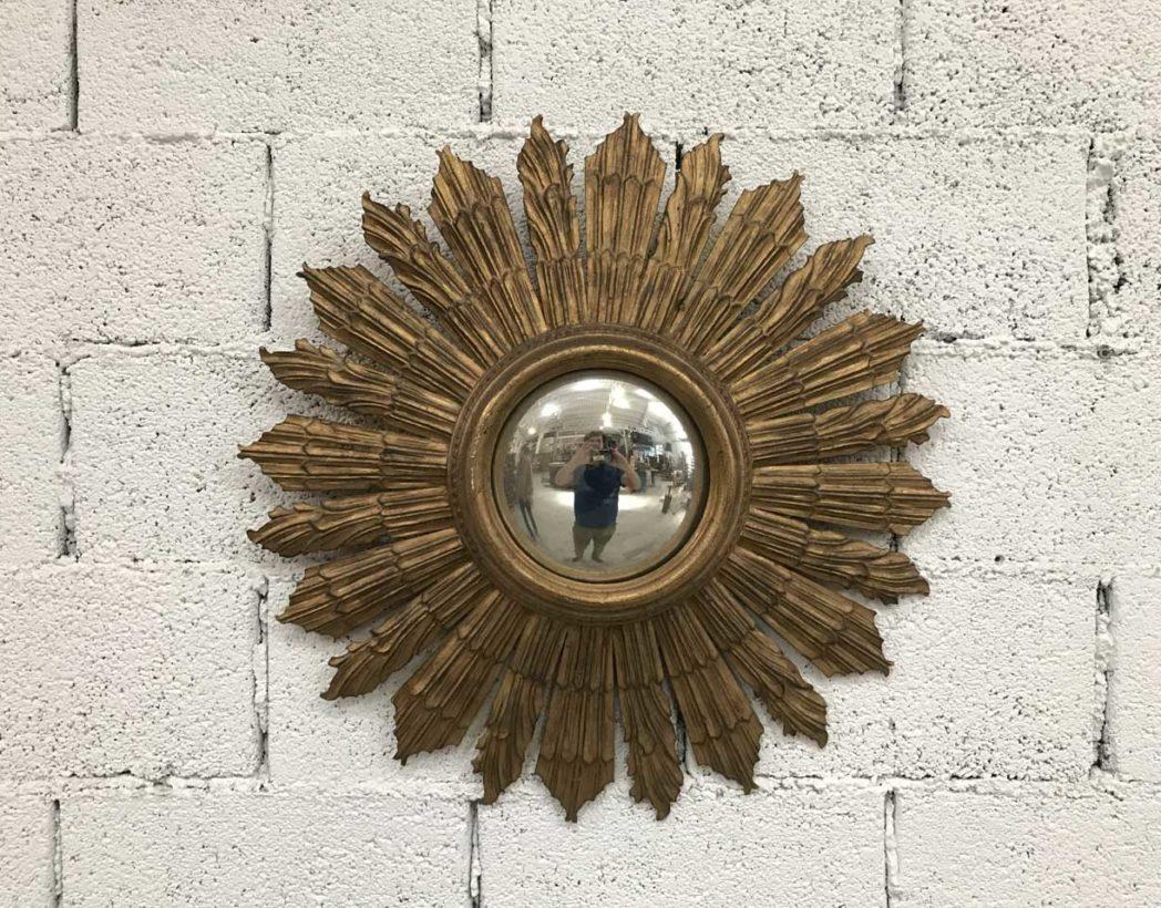 Ancien miroir soleil sorci re en bois ann e 60 for Prix d un miroir ancien